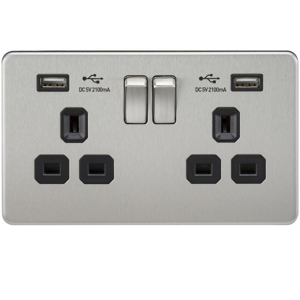 screwless 2 gang brushed chrome switched socket with dual. Black Bedroom Furniture Sets. Home Design Ideas