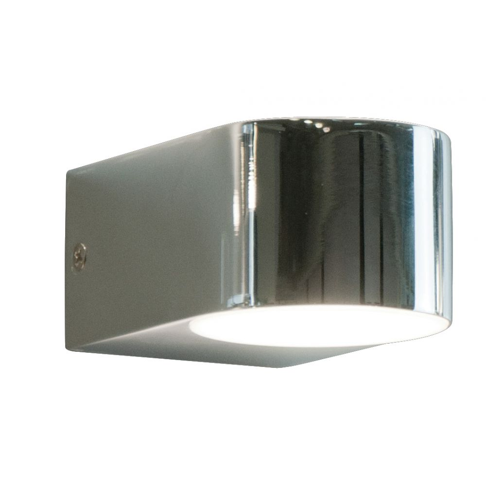 Chrome Up/Down LED Wall Light With Glass Lense