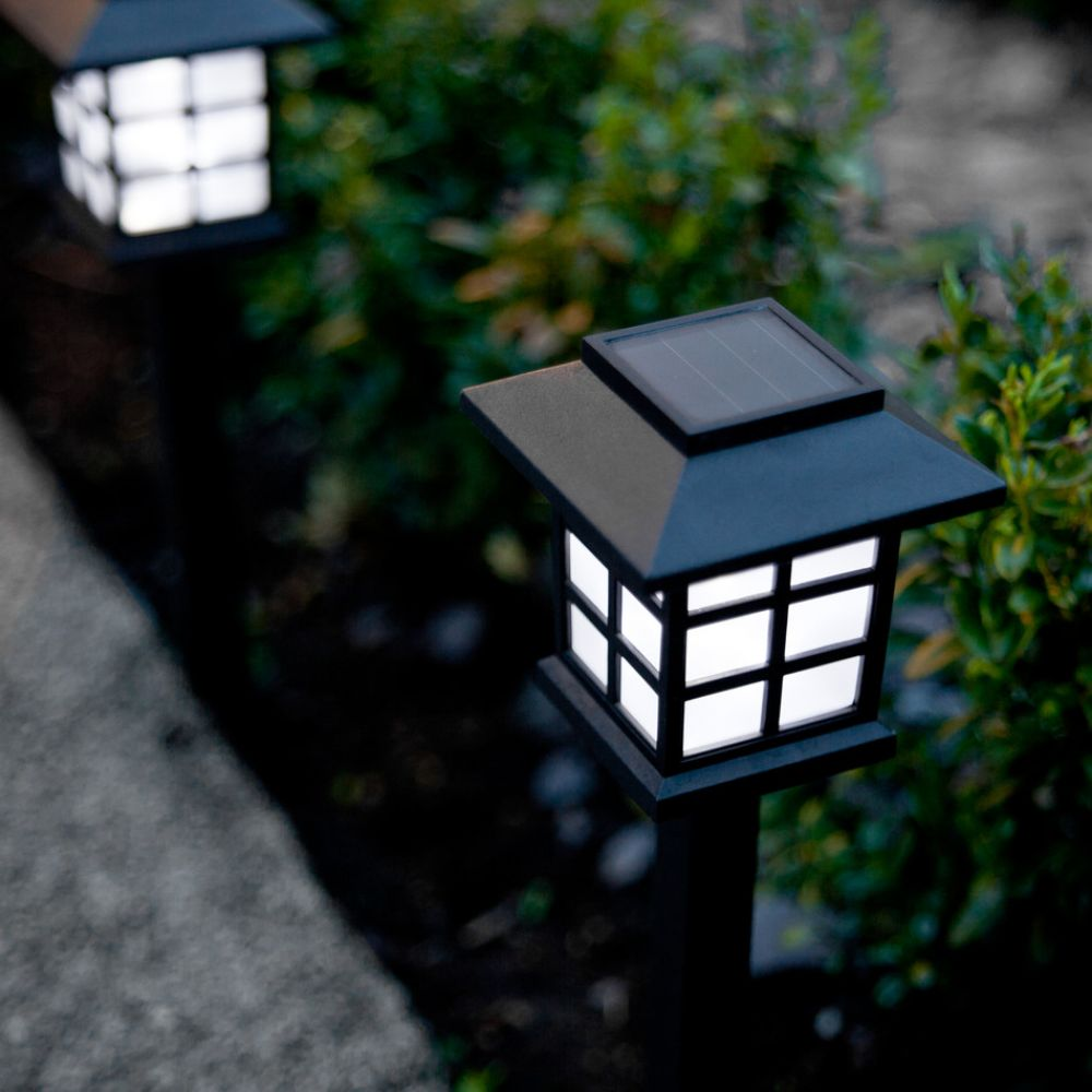 3x outdoor solar lantern stake lights with bright white leds