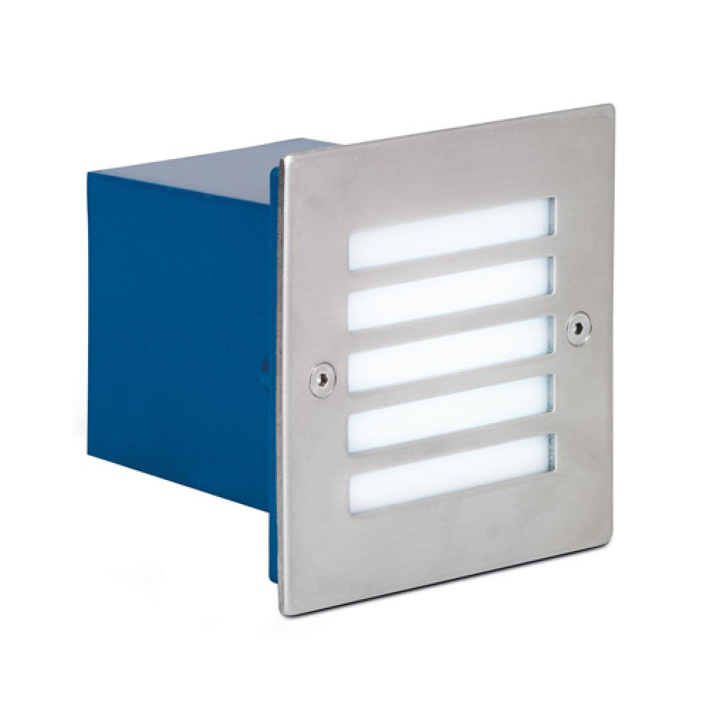 Aurora AU STL440 Stainless Steel IP54 Square LED Recessed Wall Light
