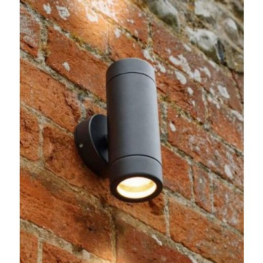 Black Up/Down Twin Outdoor Wall Light
