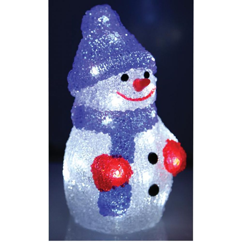 Premier Battery Operated 22cm Acrylic Led Snowman