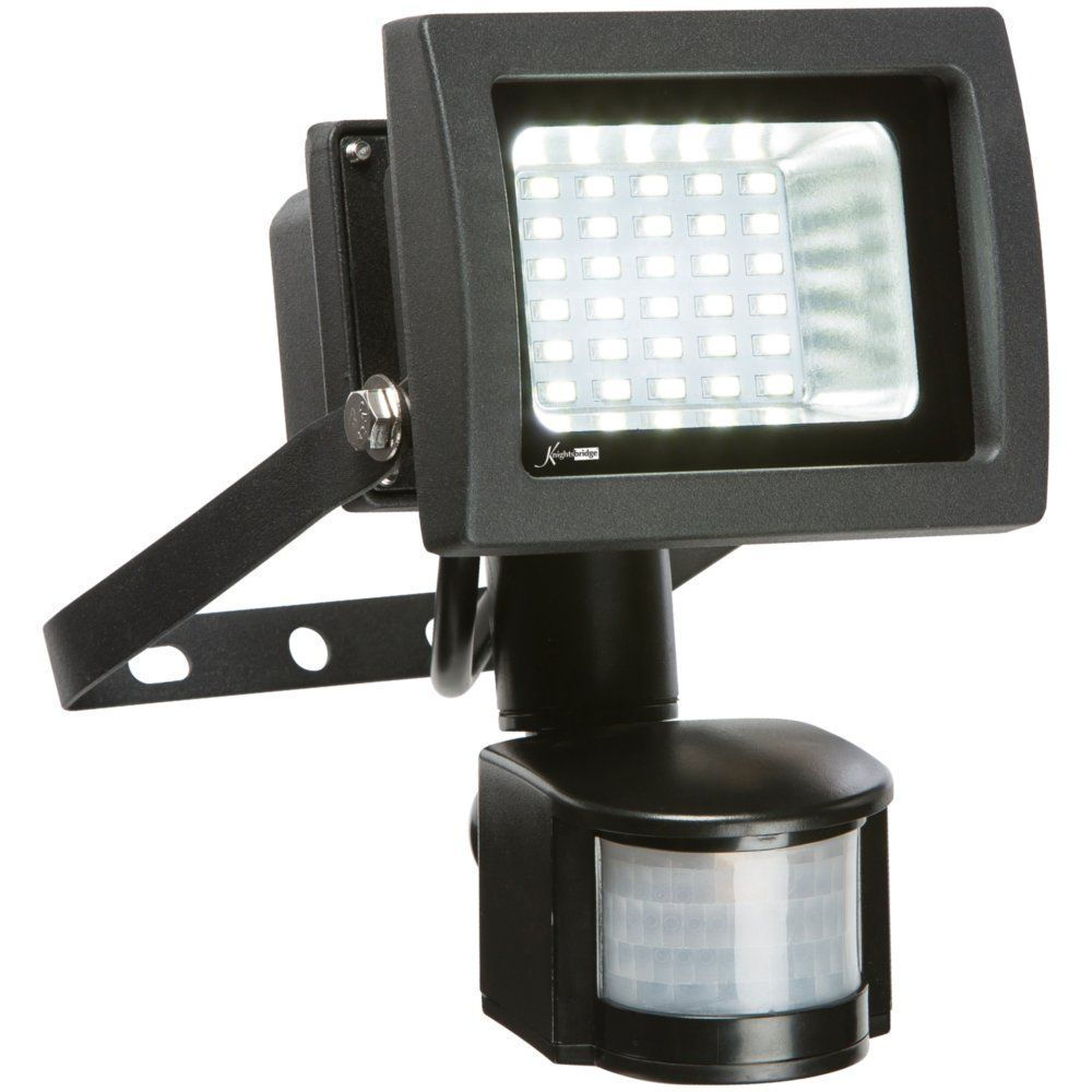 Outdoor Security Lights Pir: Knightsbridge FLS15PBK 15 Watt IP44 PIR LED Floodlight 6000k