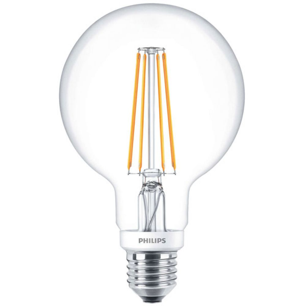 Philips 929001229002 7 Watt Es E27mm G95 Clear Dimmable Led Globe