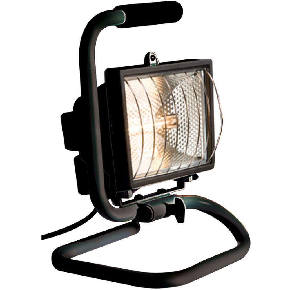 Outdoor Lights Portable: IP54 Rated Black 500 Watt Portable Halogen Enclosed Floodlight