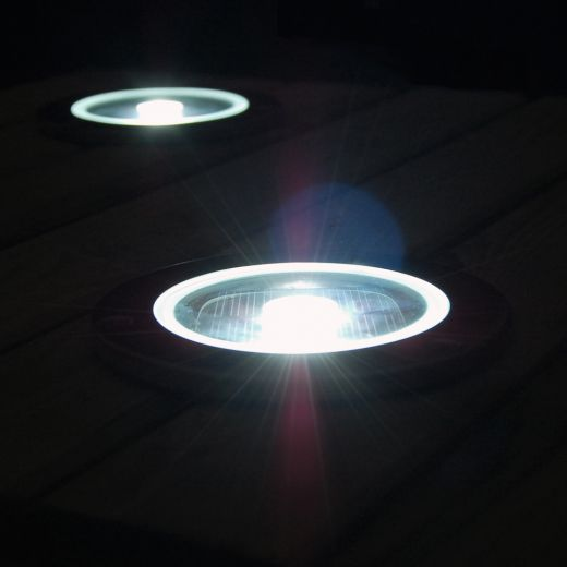 Set Of 4 Solar Powered Outdoor Round Decking Lights Ss90545