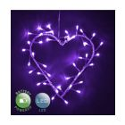 Battery Operated Purple Heart Shaped Wall Light With 40 LED Bulbs