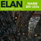 Elan Outdoor Solar Powered Fairy Lights - 200x Warm White LEDs