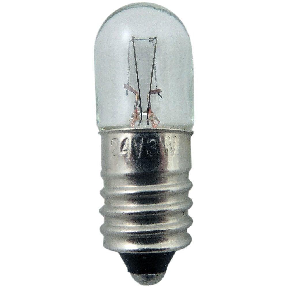 24 Volt 3 Watt Mes E10 R10 Tubular Miniature Light Bulb