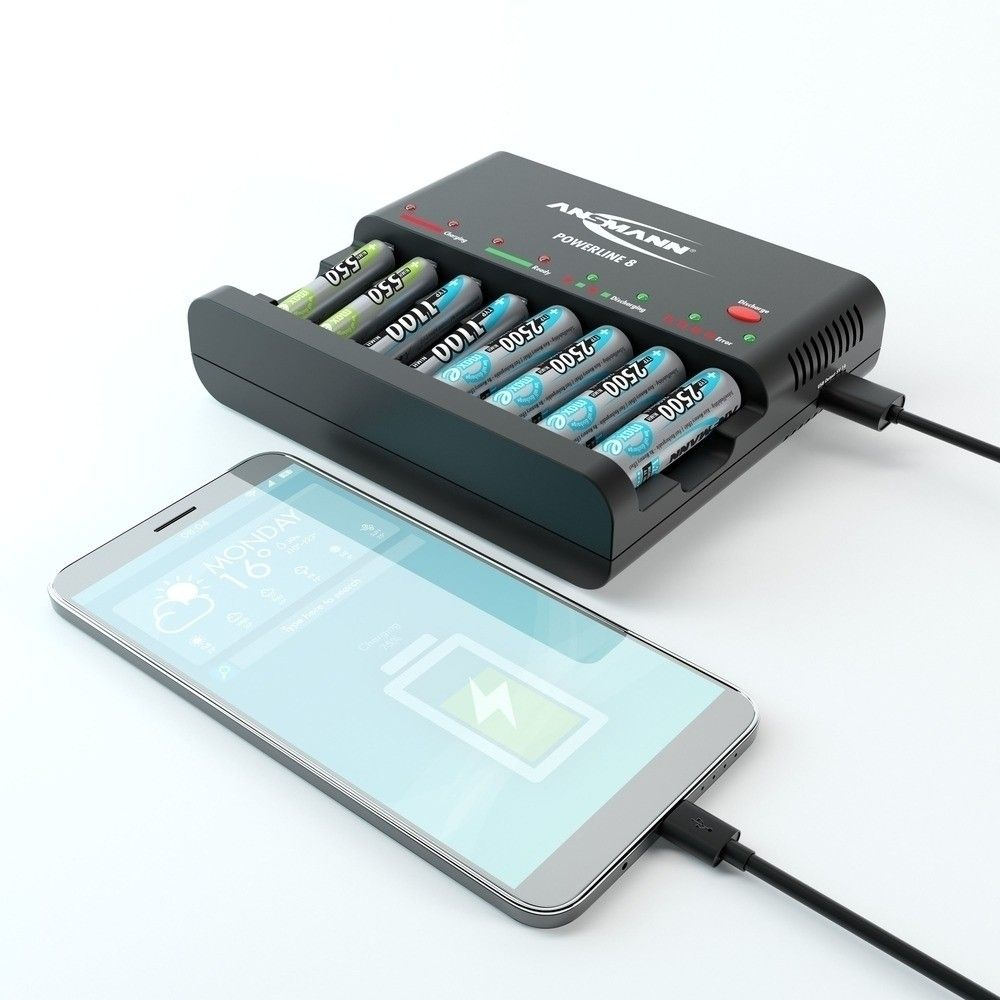 Ansmann 1001 0006 8 Aa Aaa Battery Charger With Usb Port