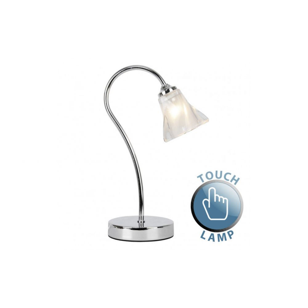 Chrome swan neck touch table lamp with frosted glass shade aloadofball Images
