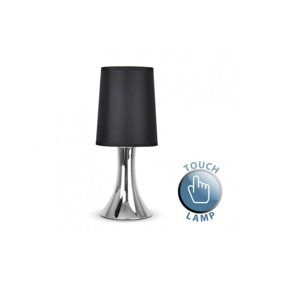 Trumpet touch table lamp with chrome base and black shade aloadofball Images