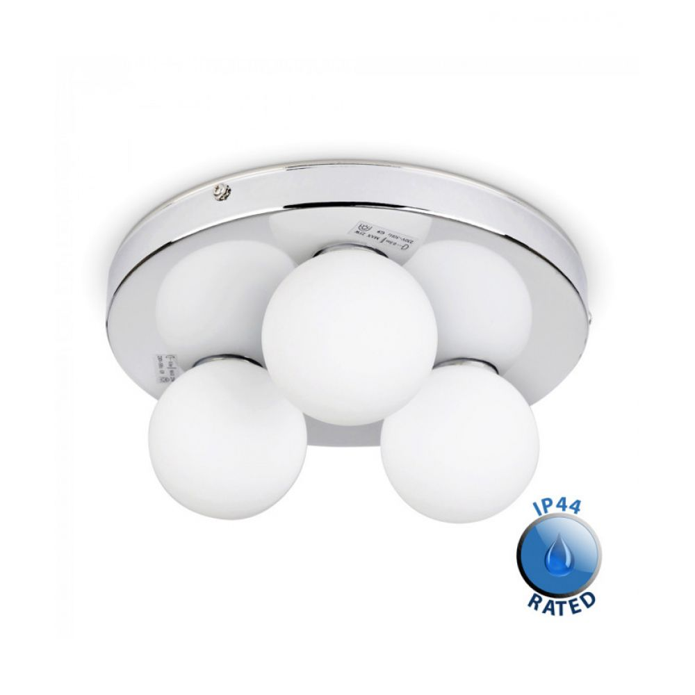 Kandinsky ip44 bathroom ceiling light with frosted glass shades aloadofball Image collections