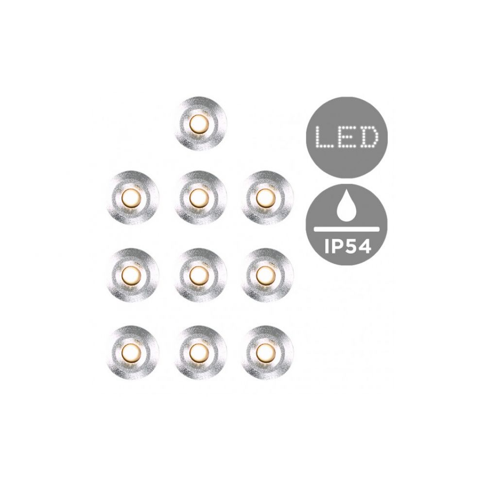10 Pack of Stainless Steel 15mm Warm White Decking Lights