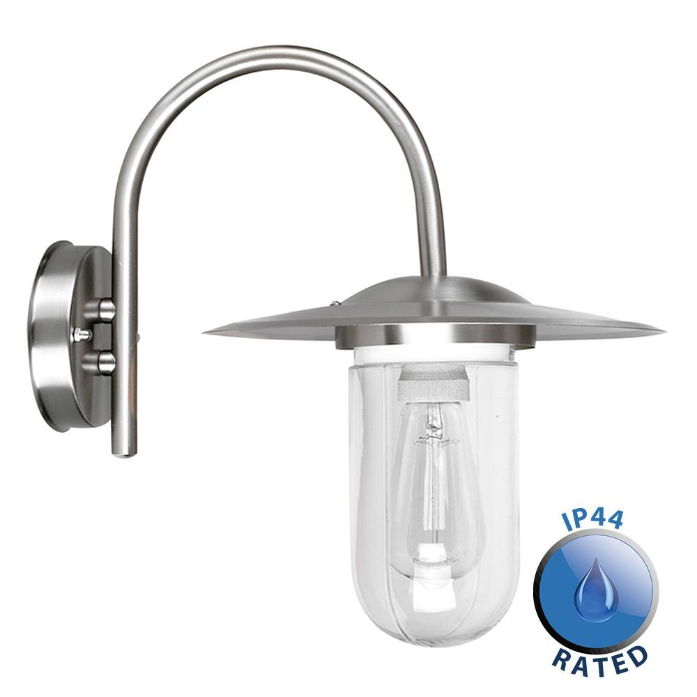 Lancaster IP44 Stainless Steel Swan Neck Lantern