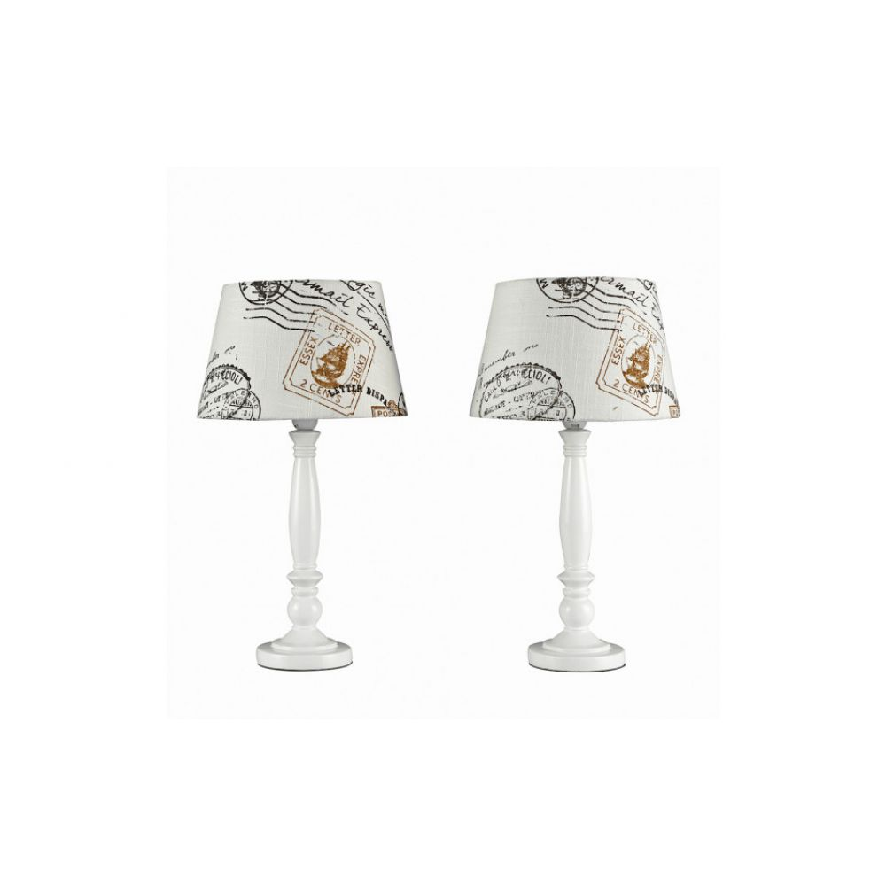 Pair of shabby n chic table lamps with stamp design aloadofball Image collections