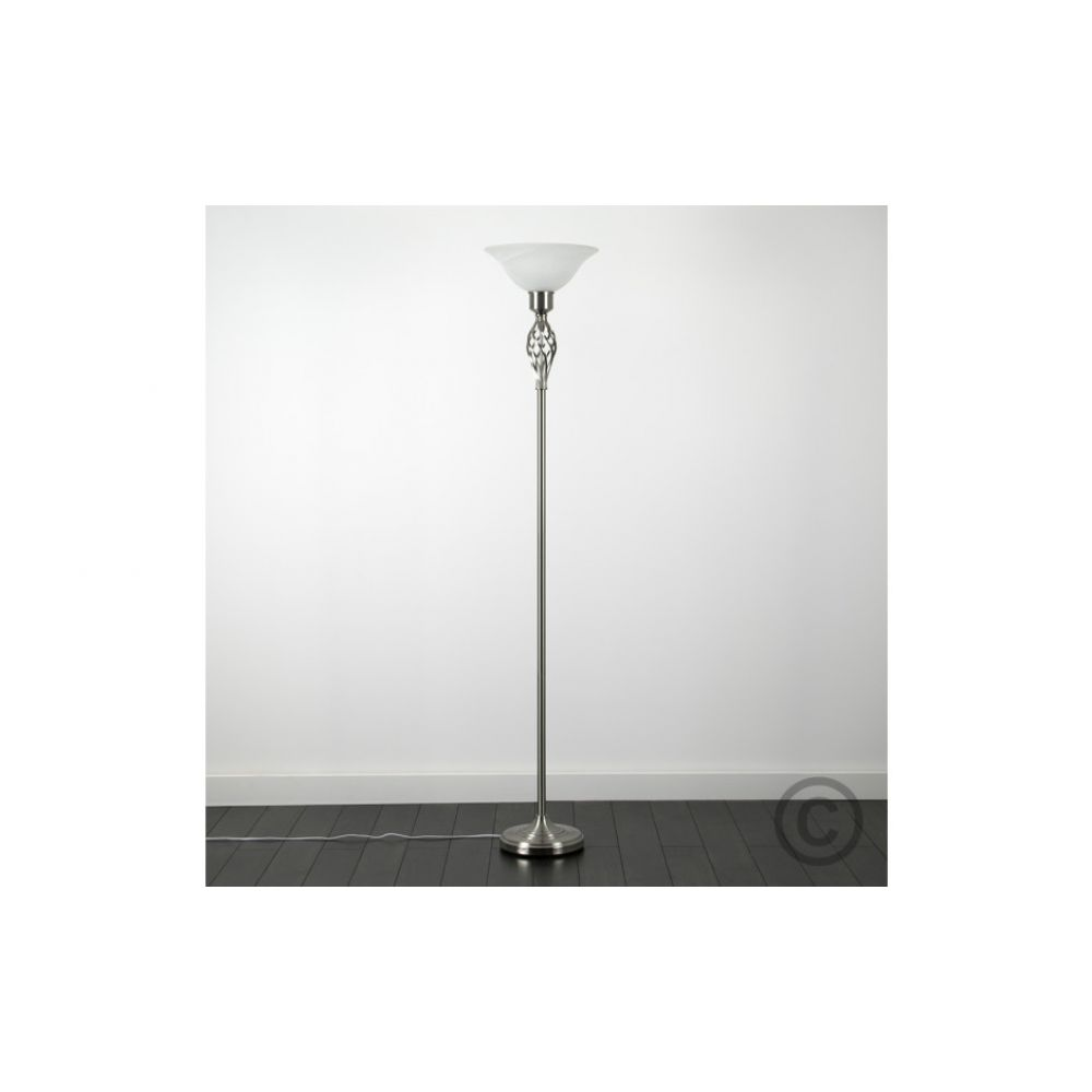 Classic satin nickel twist uplighter floor lamp aloadofball Image collections