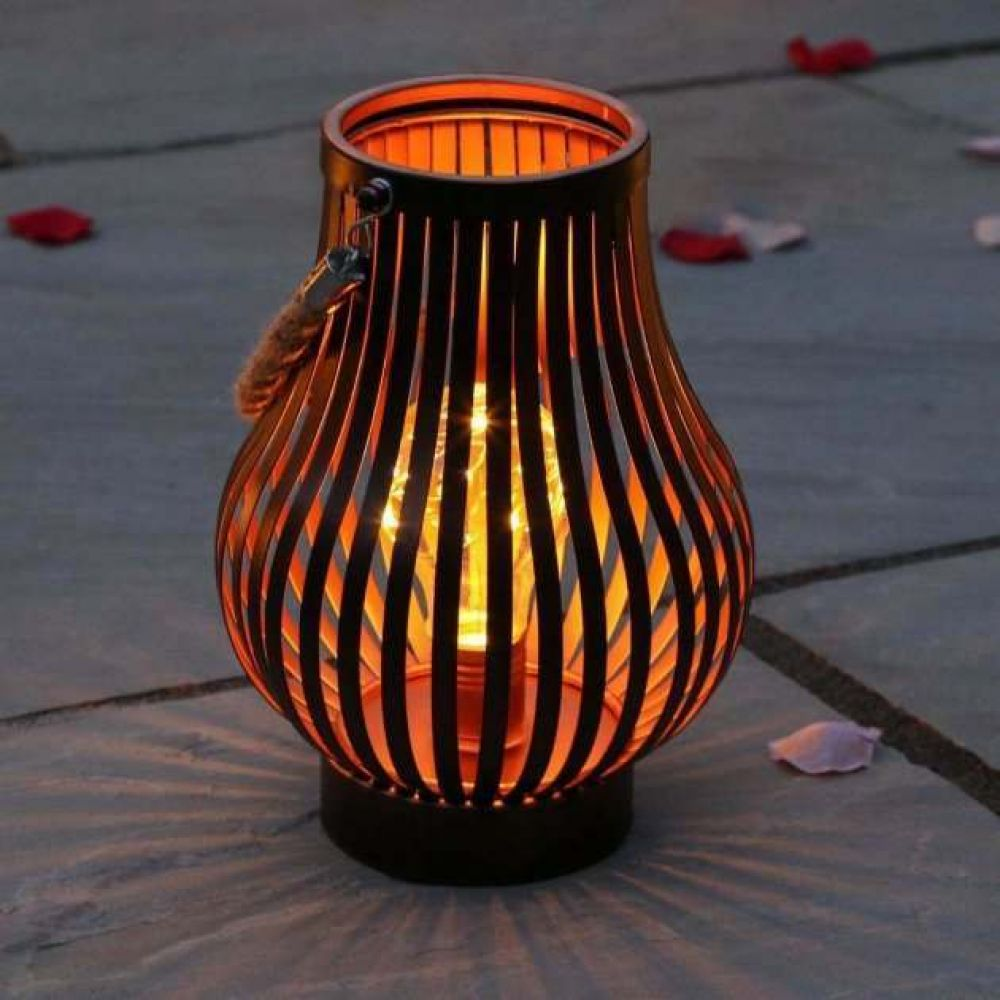 Outdoor Bronze Rustic Battery Lantern with Rope Handle