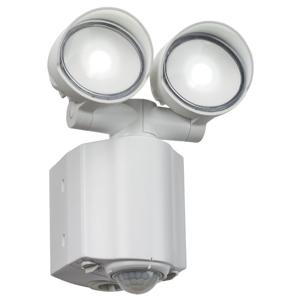 Twin led white security light with pir cool white aloadofball Gallery