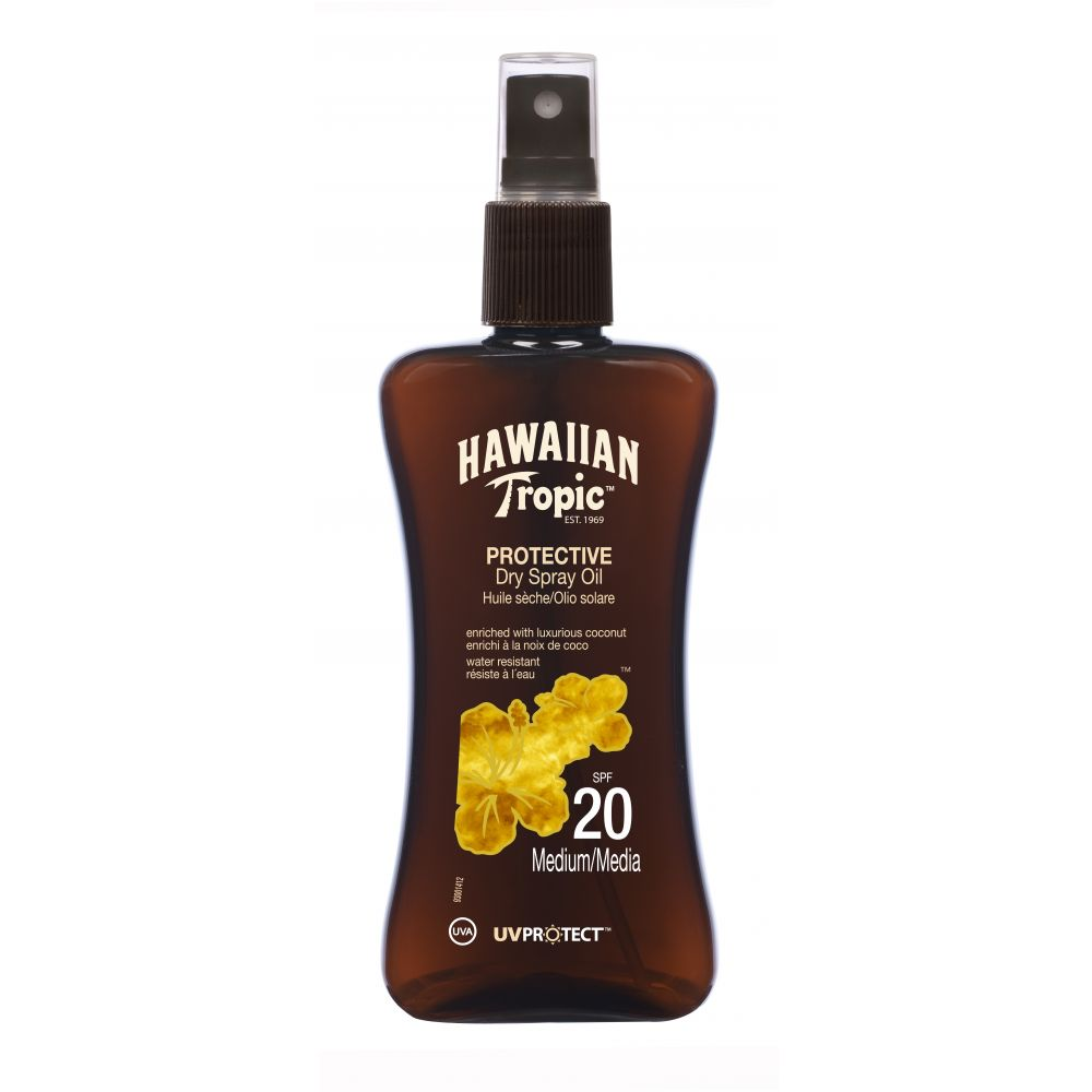 200ml Hawaiian Tropic Protective SPF 20 Dry Spray Sun Tan Oil