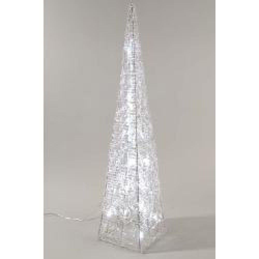 Indoor Christmas Lighting - Silver Acrylic LED Pyramid 58cm