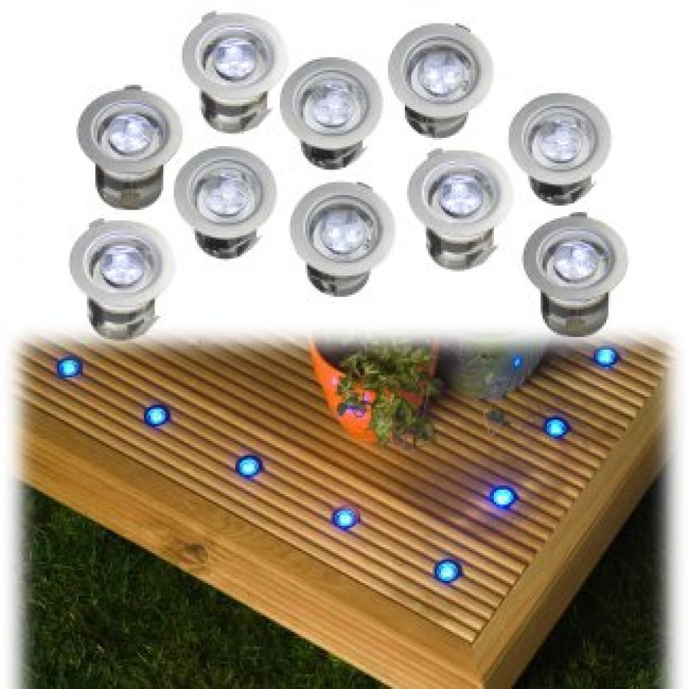 Robus r3led10s 07 10x blue stainless steel led deck lights aloadofball Image collections