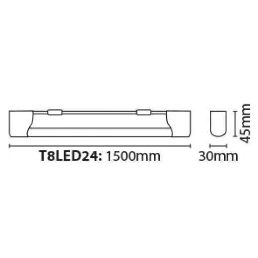 Eterna T8LED24 5ft 1500mm T8 24 watt LED Batten - Cool White