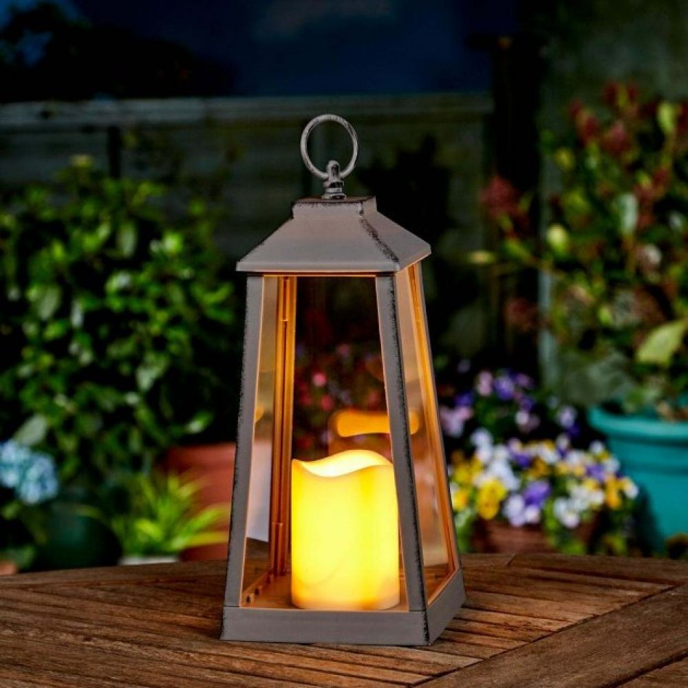 Large Grey Outdoor Battery Flickering Candle Lantern