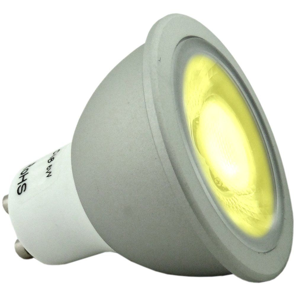 Bright Led Bulb: 6 Watt Super Bright Dimmable Yellow Coloured GU10 LED