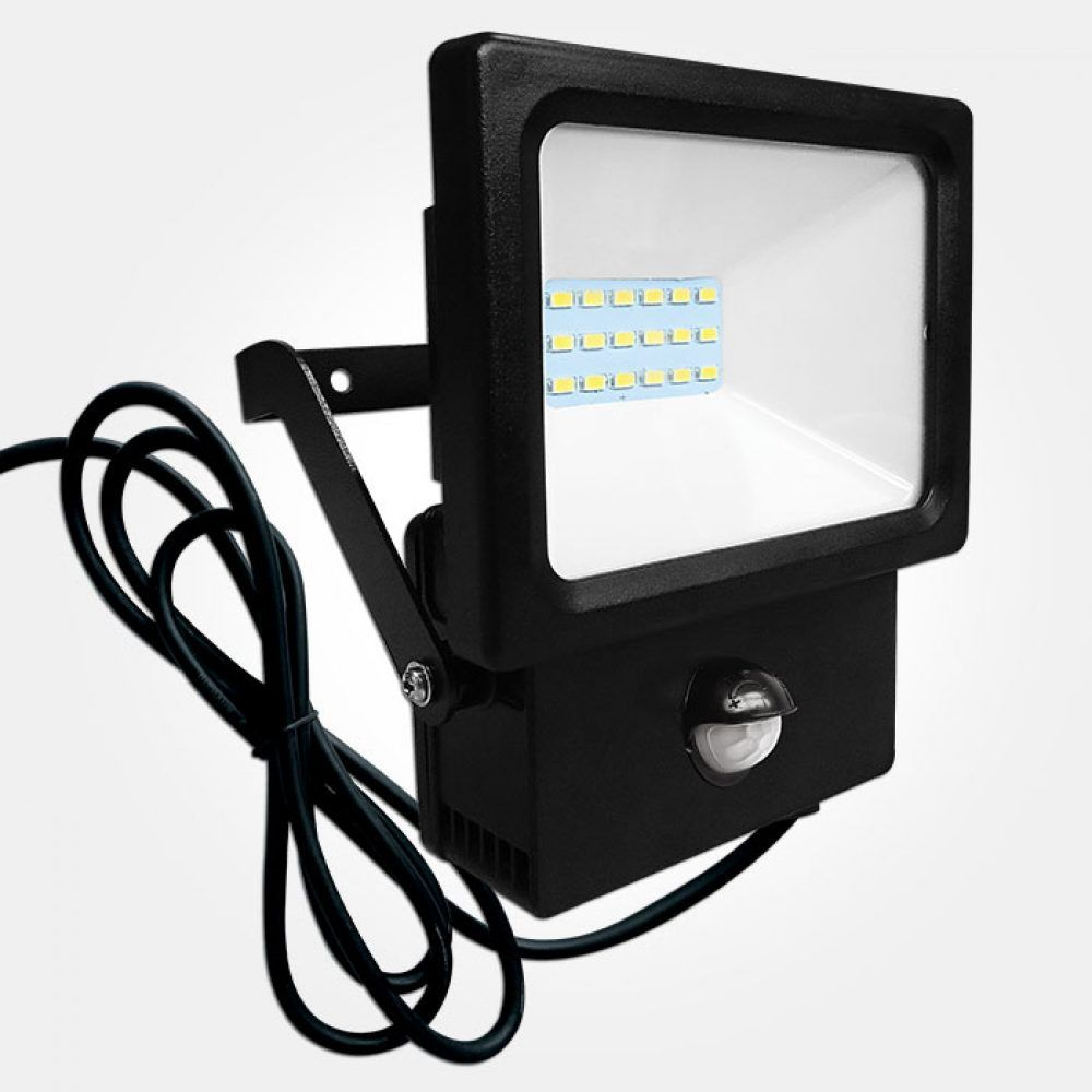 Eterna POLY10PIR 10w IP44 Rated Black LED Floodlight With PIR Sensor