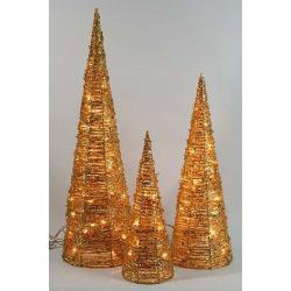 Indoor Christmas Lighting Gold Rattan Cones