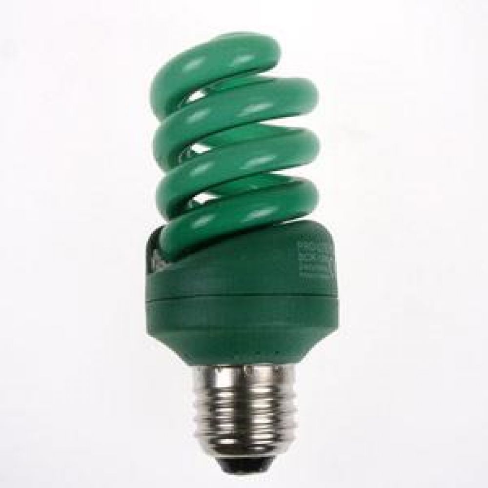 Green Coloured 15 watt ES-E27mm Energy Saving Light Bulb
