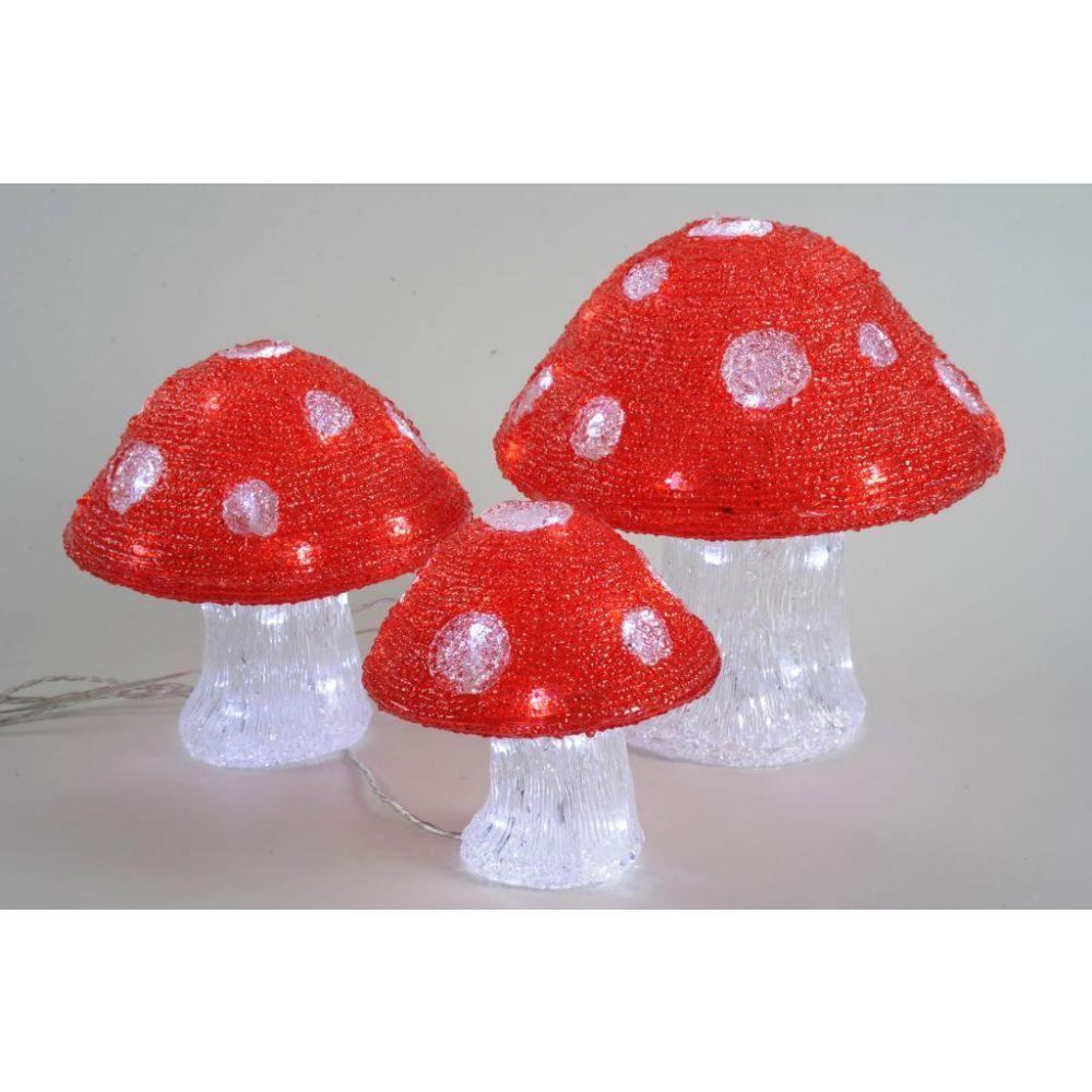 Set Of 3 Kaemingk Led Outdoor Acrylic Mushroom Lights