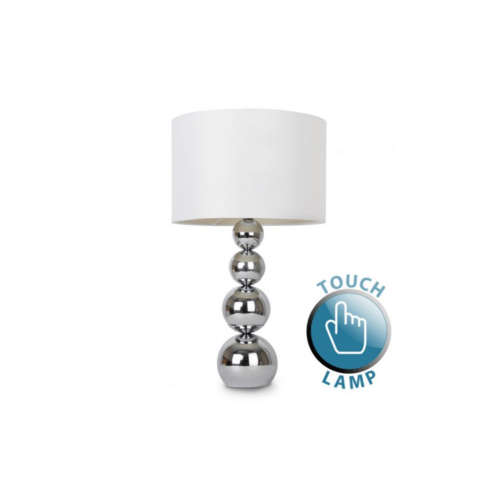 Maxi Marissa Chrome Touch Table Lamp White Shade Click Image To Zoom