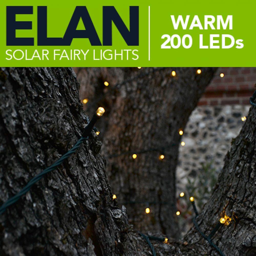 Elan outdoor solar powered fairy lights 200x warm white leds aloadofball Images