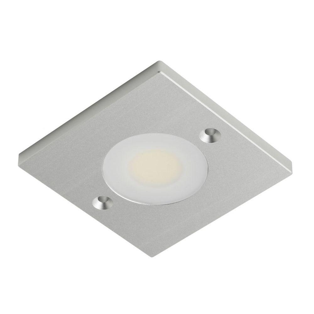 Targa 12v square silver under cabinet led light fitting warm white