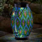 Solar Glass Peacock Feather Design LED Lantern