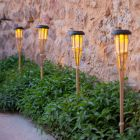 Set of 2x Solar Powered Bamboo Garden Torches