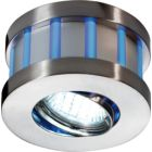 Round White Centre Blue Edge Satin Nickel GU10 LED Fitting