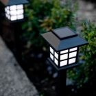 4x Outdoor Solar Lantern Stake Lights With Bright White LEDs