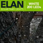 Elan Outdoor Solar Powered Fairy Lights - 200x White LEDs