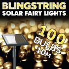 100x Blingstring Solar Powered LED Outdoor Fairy Lights - Warm White
