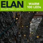 100x Elan Solar Powered LED Outdoor Fairy Lights - Warm White